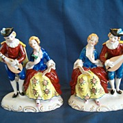 REDUCED Old Matched Pair of Figurines, Colonial Couples, Japan in Red