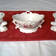 Elegant 3 Piece Moss Rose Centerpiece Bowl and Cornucopia Candleholder Set