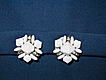 Pretty Milk White Faceted Bead with Rhinestones Clip Earrings