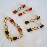 REDUCED Wonderful 1980's Bracelet and Two Pair of Coordinating Earrings