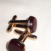 REDUCED Vintage Cuff Links, Dark Red Round Lucite Stones