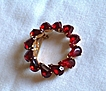 Beautiful Vintage Ruby Red Rhinestone Circle Brooch, Pin