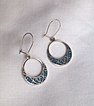 Drop Hoop Turquoise Chip Earrings, Pierced