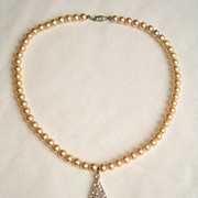 REDUCED Elegant Faux Pearl and Rhinestone Necklace