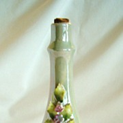 REDUCED Vintage Porcelain Green Lusterware Vanity Bottle, Germany, Applied Flowers