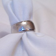 Vintage 1970's 14K White Gold Wide Band Ring, ArtCarved
