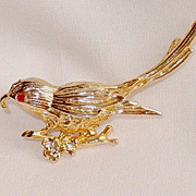 Vintage Gold Tone Bird Pin or Brooch, Ruby Rhinestone Eyes
