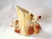 Sweet Vintage Art Pottery Planter, Brown Bear Cubs With Stump, Royal Copley