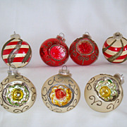 Mercury Glass Ornaments With Indents, Austria & W Germany