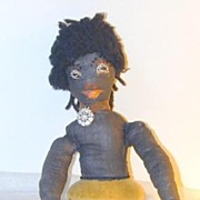 Early Folk Art Black Half-doll Pincushion - Rare!  Free shipping