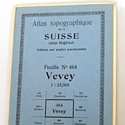 Vintage 1933 Topographical of Vevey, Switzerland - Home to the Nestl� Company