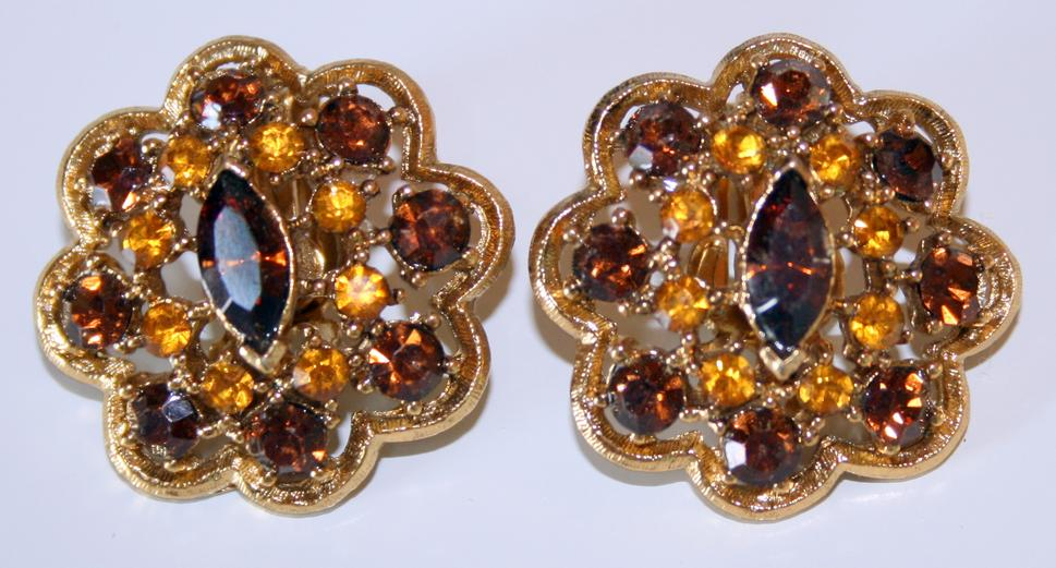 Vintage Golden Amber Earrings 1940s