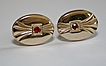 Art Deco Cuff Links with Red Rhinestones