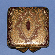 Vintage Burgundy Leather Compact with Gold Embossed Design