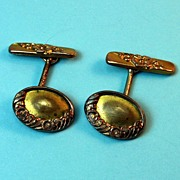 Early 20th century Goldtone Cuff Links with Scroll Design