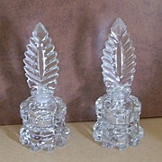 Pair Brilliant Cut Glass Perfume Bottles