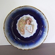 Flow Blue China Bowl Victorian Lady Germany