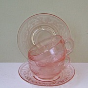 2 Sets Hazel Atlas Pink Cloverleaf Cups and Saucer