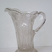 Elegant Early American Pressed Glass Butterfly  Motif Pitcher