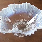 Pedestal Grape and Vine Opalescent Ruffled Bowl
