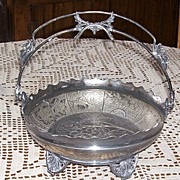 Ornate  Rockford Quadruple Footed Silverplate Brides Basket