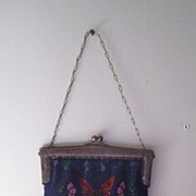 Victorian Beaded Chatelaine Purse with Butterfly Motif