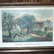 Currier and Ives American Homestead in Autumn Framed Print