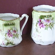Hand Painted China Creamer and Open Sugar