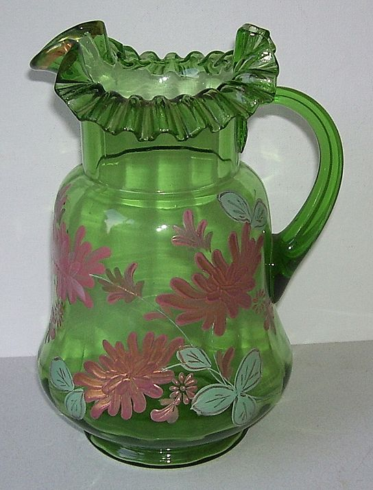 Beautiful Fenton Ruffled Edge Hand Painted Glass Pitcher
