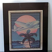 Art Deco Black and Silver Glass Frame Hand Painted Airplane Picture