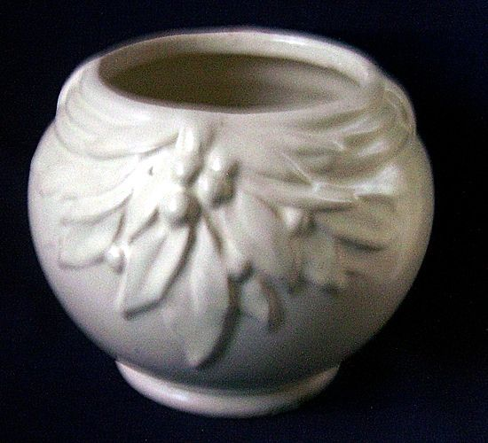 Nelson McCoy Leaves and Berries White Pottery Vase