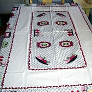 Retro Large Kitchen Red,Green,Pink Tablecloth