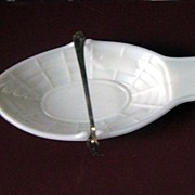 1874 White Milk Glass Pickle Boat with Fork