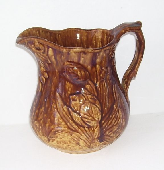 Antique Bennington  Rockingham Brown Tulips Pottery Pitcher