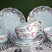 Giraud Limoges France 4 Cups and Saucers  Pink  Bridal Wreath