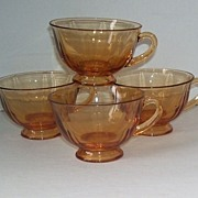 4 Fostoria Amber Glass Coffee Cups