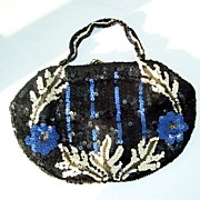 Made In Belgium Navy Blue Sequin Ladies Purse