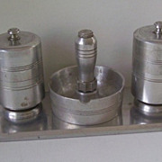 5 Pc.Cast Aluminum Cigarette Set, 1 Ashtray,Lighter,2 Cigarette Holders, Tray