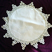 Lovely Hand Crocheted Round Linen Doily with Lace Edge