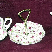 Lefton 3 Pc Chintz  Candy Dish, Cream and Sugar