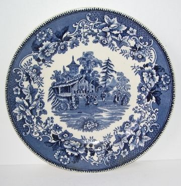 Avon  Cottage Staffordshire Thos Hughes Blue and White Plate