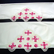 Beautiful Pink and White  Hand Crocheted Pillow Cases