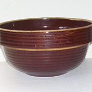 Vintage U.S.A Brown Pottery Ironstone Mixing Bowl