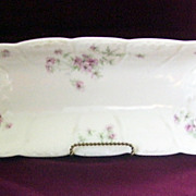 Lovely Limoges France Long Celery or Bread Floral Tray signed A. Lanternier