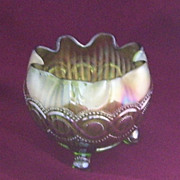 1912 Northwood  Iridescent Green  Carnival Glass Beaded Cable Dish