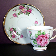Royal Vale England Pink Roses  Cup and Saucer