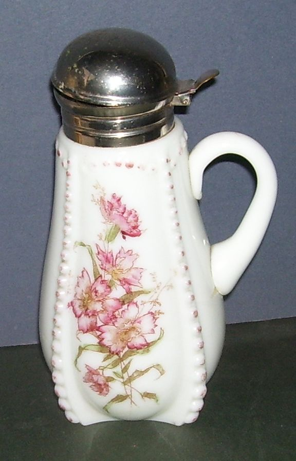 Antique White Milk Glass Beaded Trim Painted Flowers Syrup Pitcher