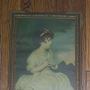 Victorian Little Girl Litho Framed Print