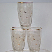 6 Libby 8 Oz. Etched Daisy Drinking Glasses