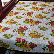 Bright Yellow and Orange Vintage Cotton Tablecloth
